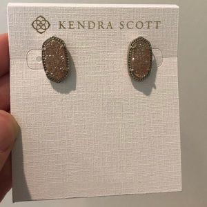 Kendra Scott iridescent drusy silver Ellie studs
